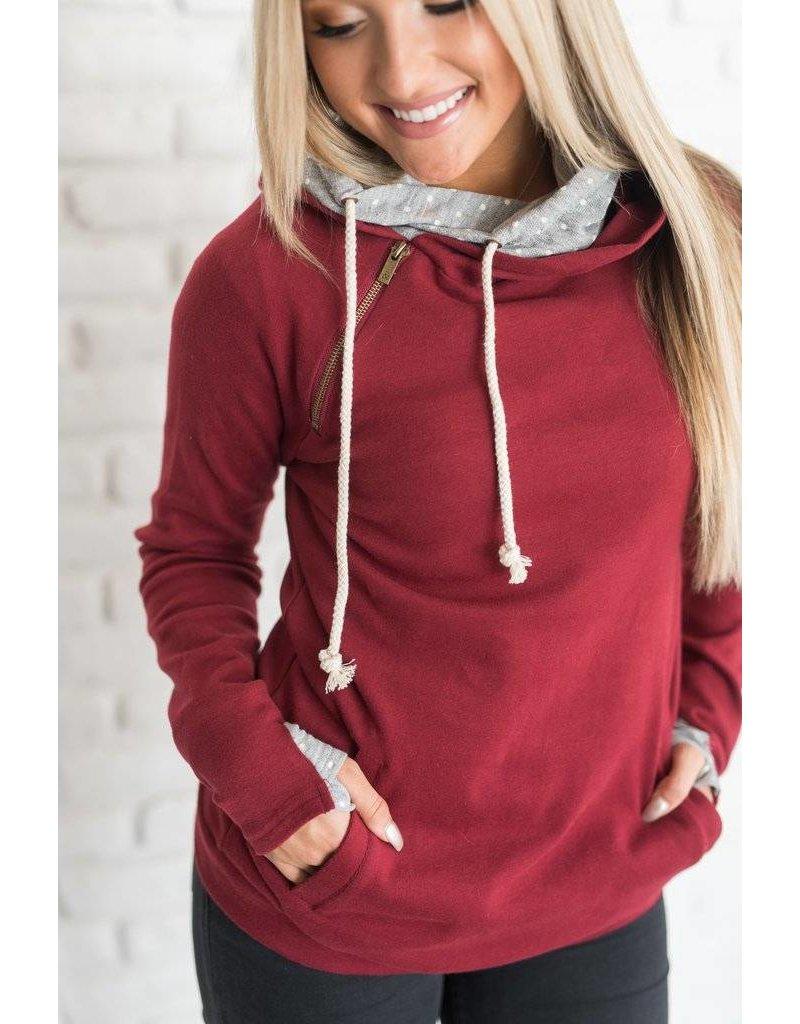 AmpersandAve DoubleHood™ Sweatshirt Cranberry Polka dot