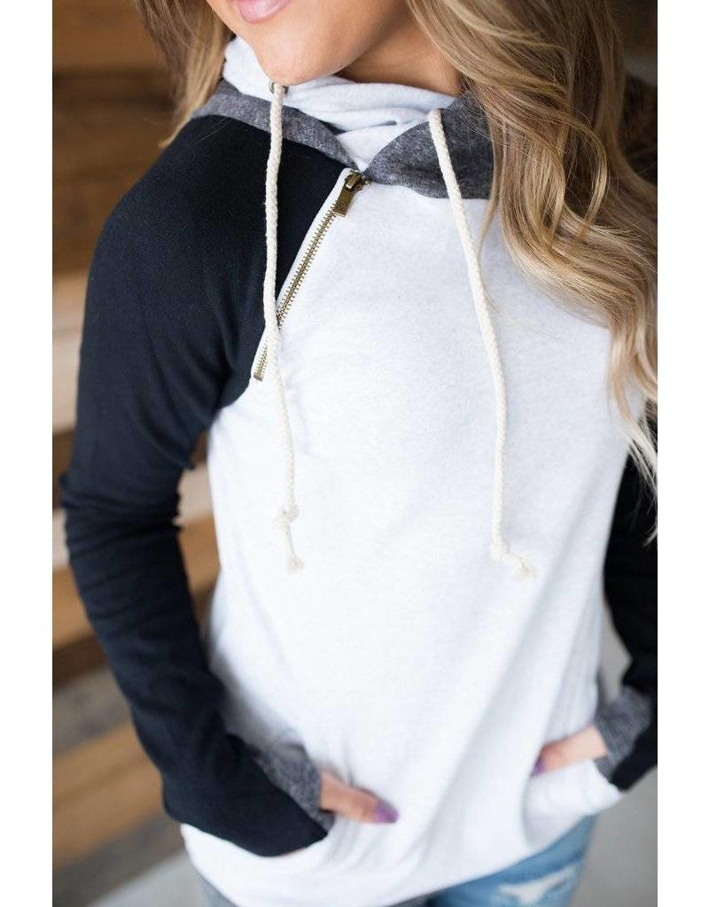 AmpersandAve DoubleHood™ Sweatshirt - ColorBlock Black