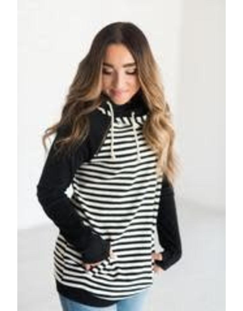 AmpersandAve DoubleHood™ Sweatshirt - Black Stripe Baseball