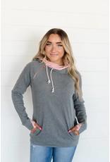 AmpersandAve DoubleHood Sweatshirt Charcoal & Rose
