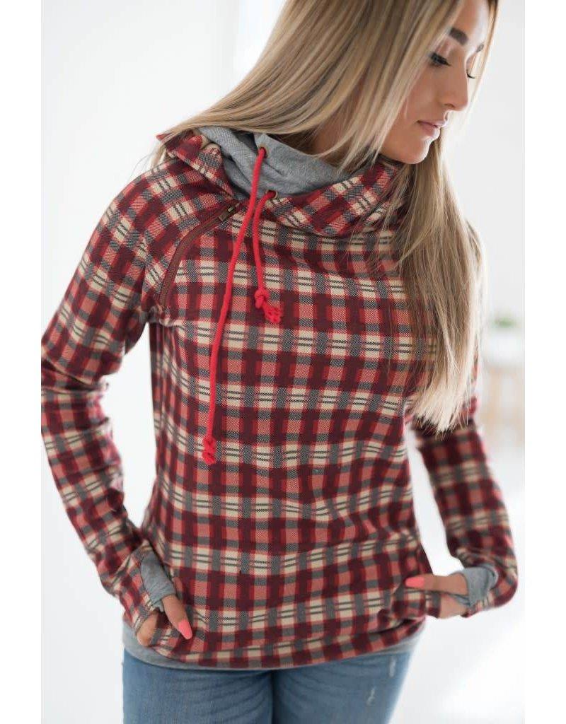 AmpersandAve DoubleHood™ Sweatshirt - Holiday Plaid/ Grey