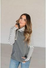 AmpersandAve DoubleHood™ Sweatshirt - Grey solid/ black/white stripe