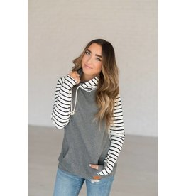 AmpersandAve DoubleHood™ Sweatshirt - Grey solid/ black/white stripe