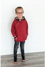 AmpersandAve Kids DoubleHood™ Sweatshirt - Cranberry Plaid