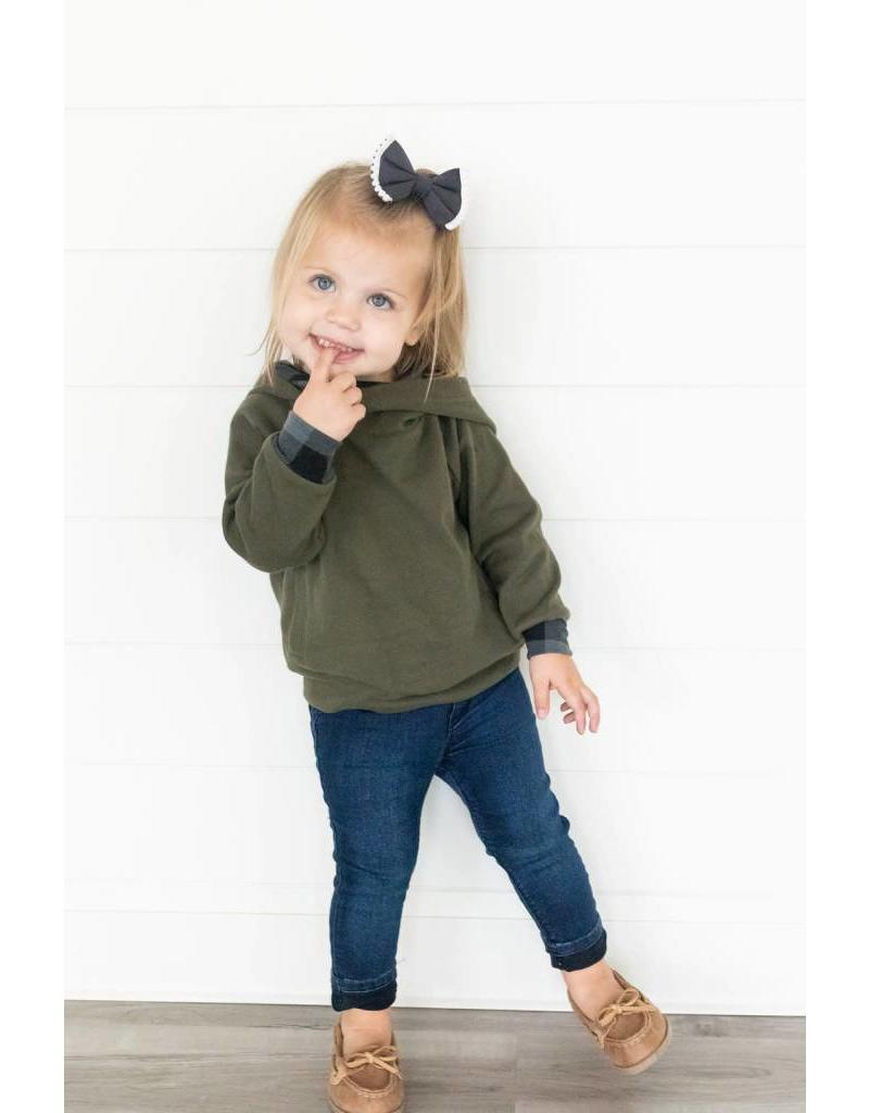 AmpersandAve Kids DoubleHood™ Sweatshirt - Green Plaid