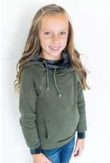 AmpersandAve Youth DoubleHood™ Sweatshirt - Green Plaid