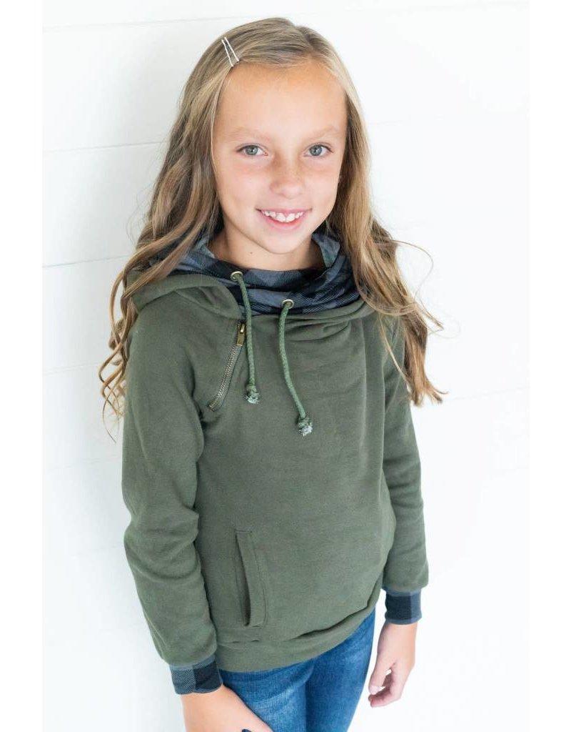AmpersandAve Youth DoubleHood™ Sweatshirt - Green Plaid
