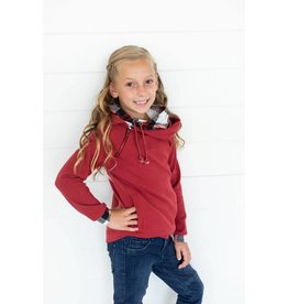 AmpersandAve Youth DoubleHood™ Sweatshirt - Cranberry Plaid