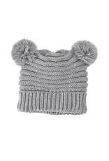 Gray pom pom hat