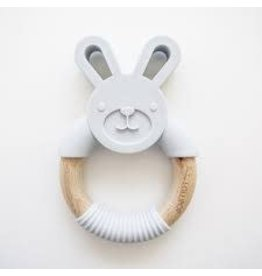 Loulou Lollipop Bunny Silicone & Wood teething Ring - Lt Gray