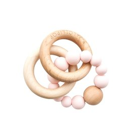 Loulou Lollipop Bubble Silicone and Wood Rattle - Pink