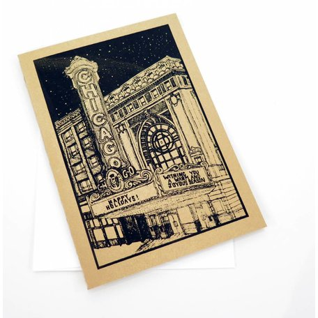 Screenprinted card on gold cardstock, LIly Cozzens