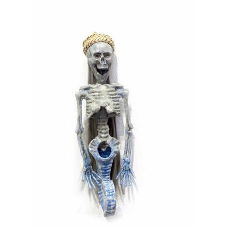 Blue wall mount mermaid with hat, Erin Cramer