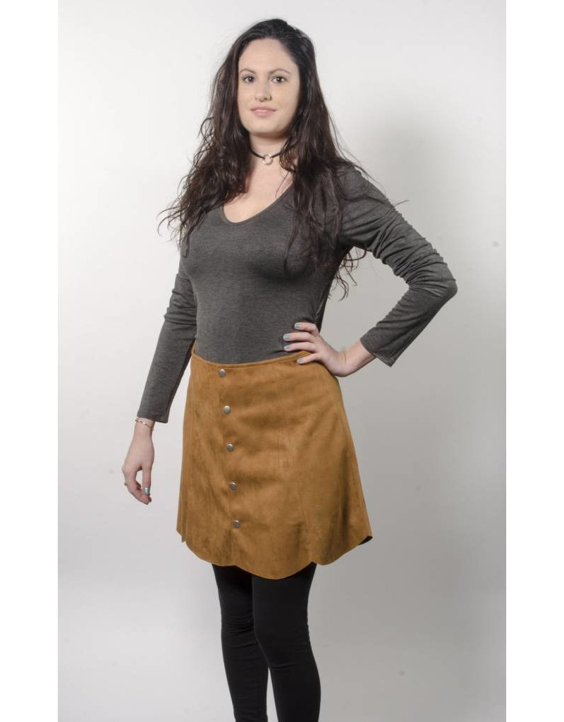 Angie Faux Suede Brown Mini