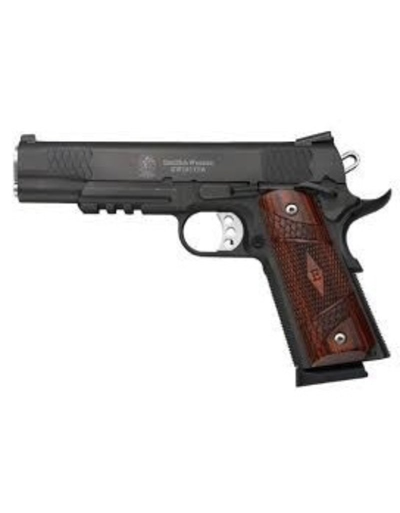 "Smith & Wesson Smith & Wesson SW1911TA E-Series 45acp 5"" BLK 1-8rd w/ Rail Wood Grips & Night Sights"