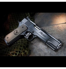 "Nighthawk Nighthawk Custom Falcon 45ACP 5"" One Piece Mainspring Housing with Rounded Edge, Falcon Relief Cut, Checkered Front Strap, NS"