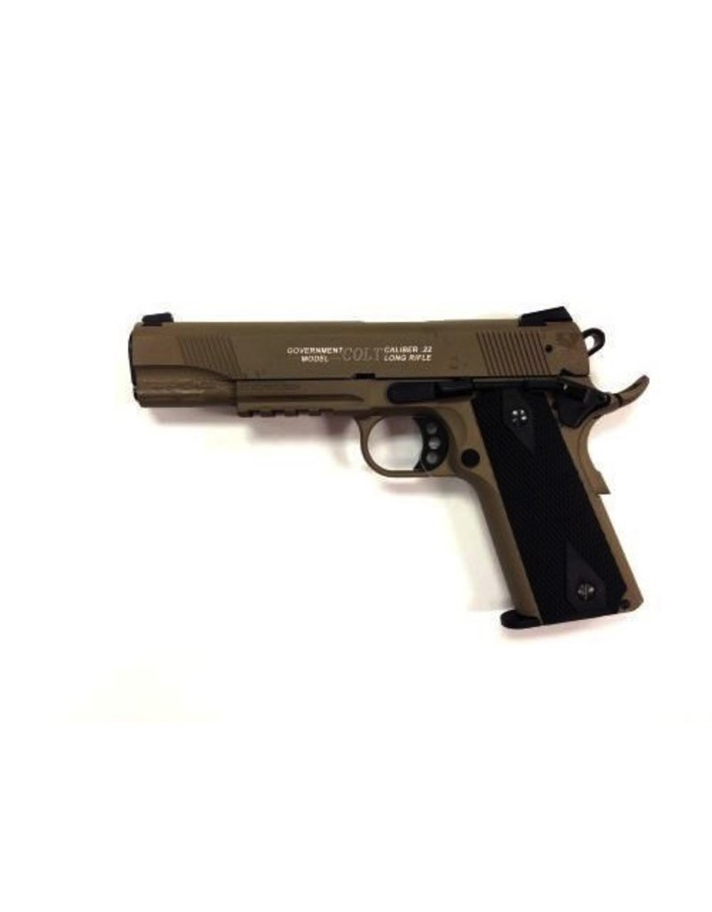 "WALTHER Walther Umarex Colt 1911A1 Rail FDE 5"" 22LR 1-12rd"