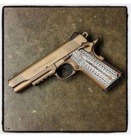 """COLT Colt 1911 M45A1-CQBP 45acp 5"""" Desert Sand Ion Bond Novak Sight Tan/Black Grips 2-7rd"""
