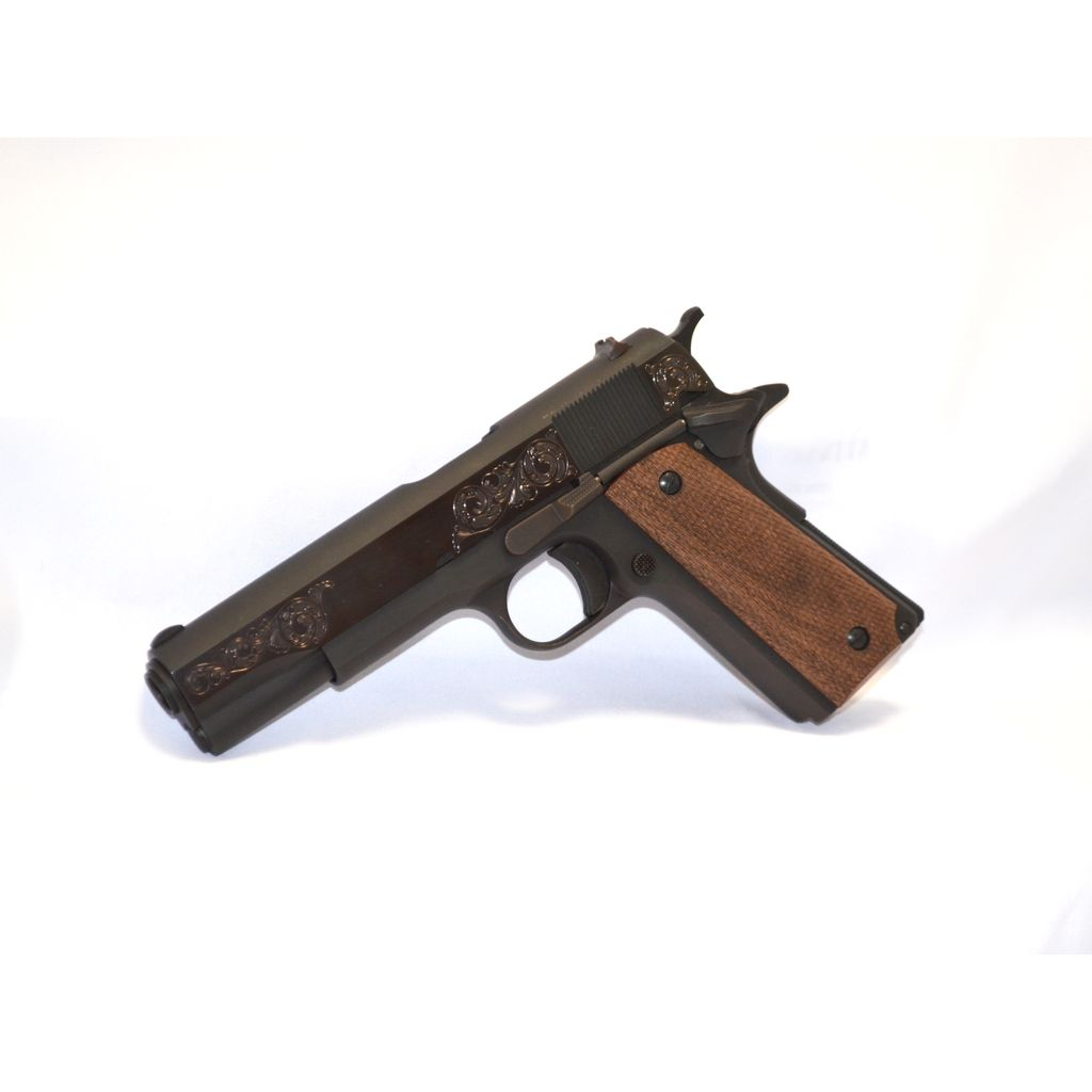 """Taylor's & Co Taylor's & Co 1911 45acp 5"""" 2-8rd Walnut Grips Polished Flats Blued Finish w/ Hand Engraving"""