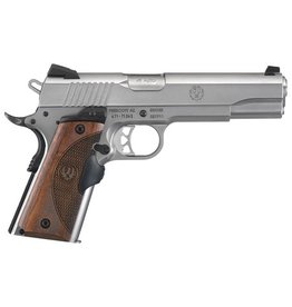 Sturm Ruger RUG SR1911 .45 ACP 5 Inch Barrel Low Glare Stainless Steel Finish Crimson Trace Lasergrip Wood Grain One 7 Round and One 8 Round Magazine - AcuSport Exclusive