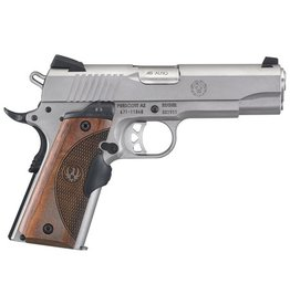 Ruger Ruger SR1911 .45 ACP 4.25 Inch Barrel Low Glare Stainless Steel Finish Crimson Trace Lasergrip Wood Grain One 7 Round and One 8 Round Magazine - AcuSport Exclusive