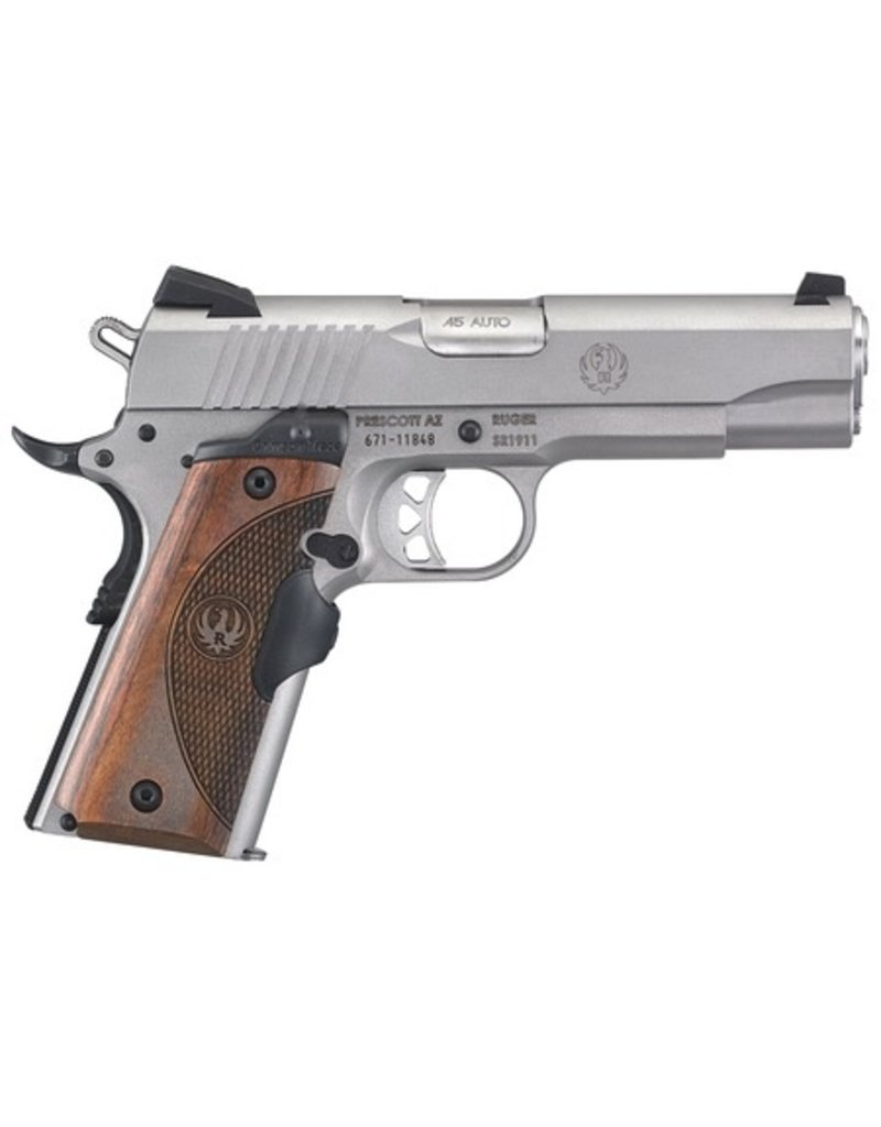 Sturm Ruger RUG SR1911 .45 ACP 4.25 Inch Barrel Low Glare Stainless Steel Finish Crimson Trace Lasergrip Wood Grain One 7 Round and One 8 Round Magazine - AcuSport Exclusive