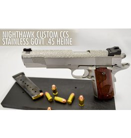 Nighthawk Nighthawk Custom CCS Stainless Govt .45 Heine Ledge Boot Cocker Tritium Rear Sight. Heavy River Stipple Frame