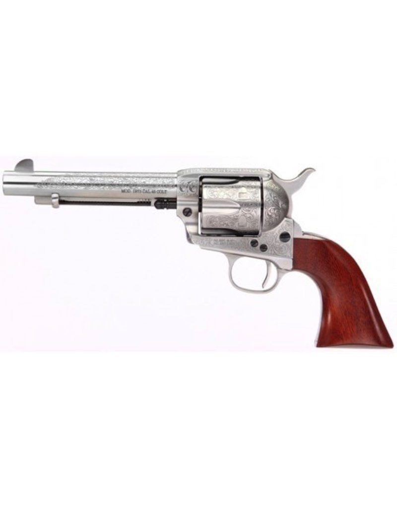 Taylor's & Co Taylor & Company Cattleman Stainless Floral Engraved .357 Mag 5.5‰Û Heat Treated Fire Blued Screws