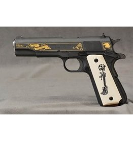 SPRINGFIELD Springfield Armory 1911A1 Battlefield Cross Limited Edition Parkerized Ivory Stlyle Grips Wooden & Black Plastic Grips With Springfield Logo Included