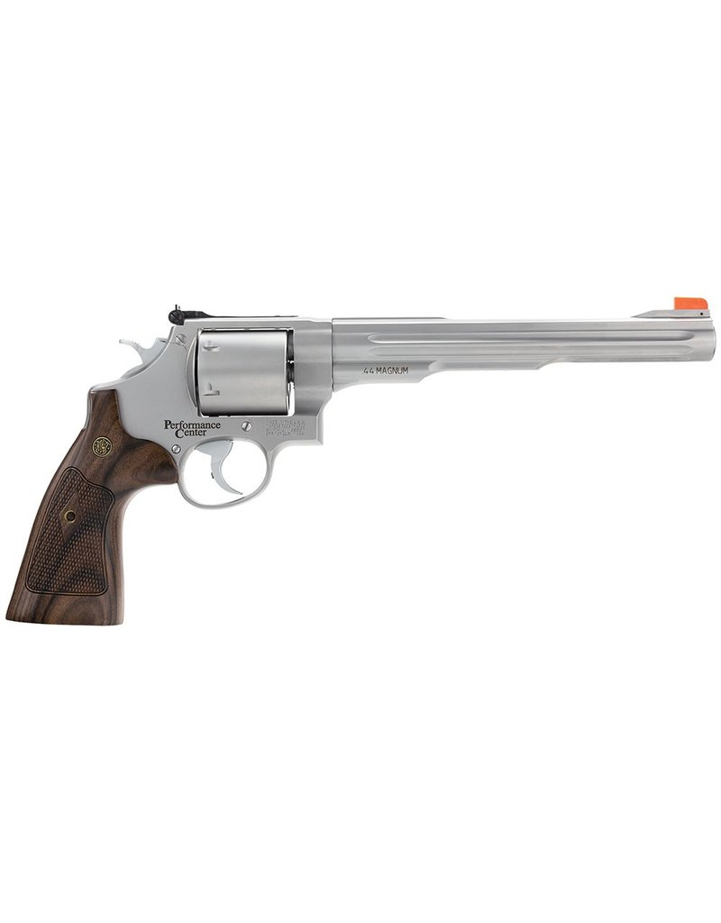 "Smith &amp; Wesson Smith &amp; Wesson 629 Performance Center .44 Magnum/.44 Special 8.4"" Fluted Barrel Glass Bead Stainless Finish Orange Glow Blade<br /> Walnut Target Grips"