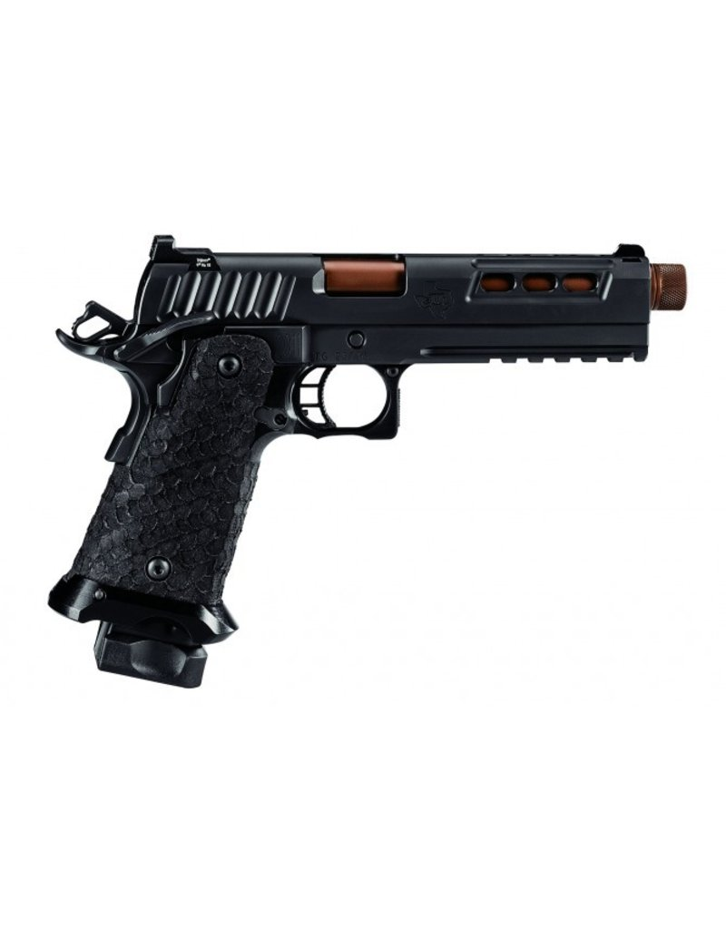 "STI STI DVC Tactical 9MM 5"" Dimaond Like Carbon Black Threaded barrel Tritium Sights 3.5 lb Trigger A,mbi Safety Picatinny Rail Tactical Magwell 2-15rd Alter"
