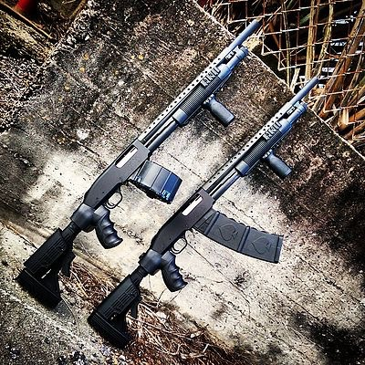 Black Aces Tactical Black Aces Tactical Pro Series 9 Leo Special 12 Ga 18.5in OEM Mossberg heat Shield Railed Forend ATI 6 position Stock 10Rd Stick Magazine