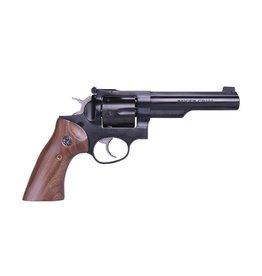 Ruger Ruger GP100 .357 Magnum 5In Blued Half Lug Gold Bead Front Sight Smooth Walnut Roper Grips 6 Shot