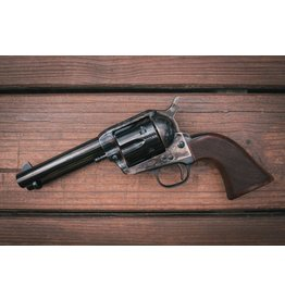 Taylor's & Co Taylor & Company Uberti Gunfighter 4.75In .357 Mag Blued Case Hardened Frame Checkered Gunfighter Grips