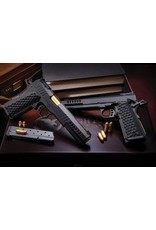 Nighthawk NIghthawk Custom Boardroom Series Chairman 45acp 6In Long Slide With Windows Angle Lightning Cuts Gold Ti-Nit Crowned Barrel