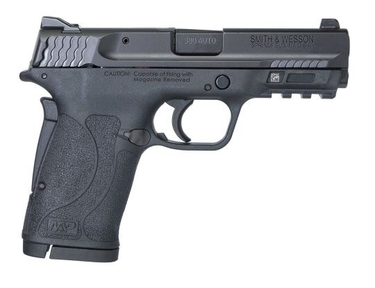 Smith & Wesson Smith & Wesson M&P380 Shield EZ .380 ACP 3.6 Inch Barrel Black Finish Polymer Frame White Dot Front Sight Adjustable White Dot Rear Sight No Thumb Safety 8 Round