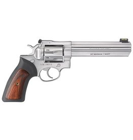 Ruger Ruger GP100 Revolver 357 Mag 6In Satin Stainless Black Rubber Wood Grips 7Rd Adj. Rear Sight & Fiber Optic Front
