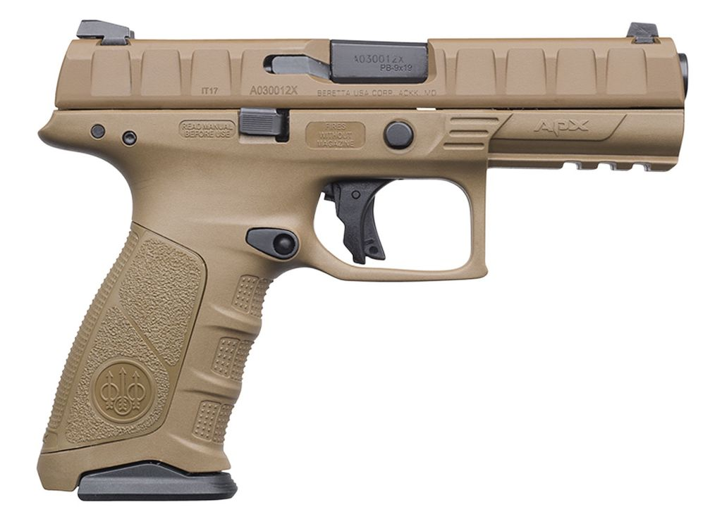 "BERETTA Beretta USA APX Full Size Single/Double 9mm Luger 4.9"" 10+1 Flat Dark Earth Interchangeable Backstrap Grip Flat Dark Earth"