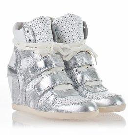 Ash Womens Bea Wedge Sneaker Silver/White