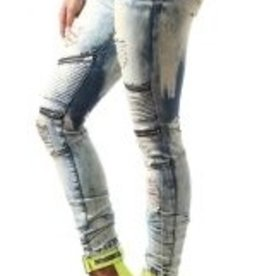 Smoke Rise Skinny Moto Denim W Rips & Zipper