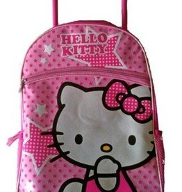 "Hello Kitty 16"" Hello Kitty Large Rolling Backpack with Pink Stars"