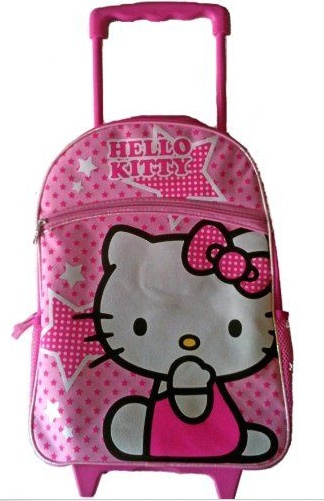 """Hello Kitty 16"""" Hello Kitty Large Rolling Backpack with Pink Stars"""