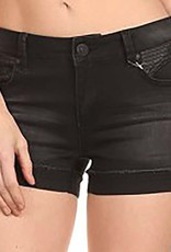 London Denim Leather Shorts