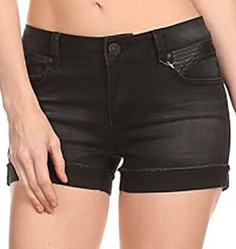 London Denim Leather Shorts
