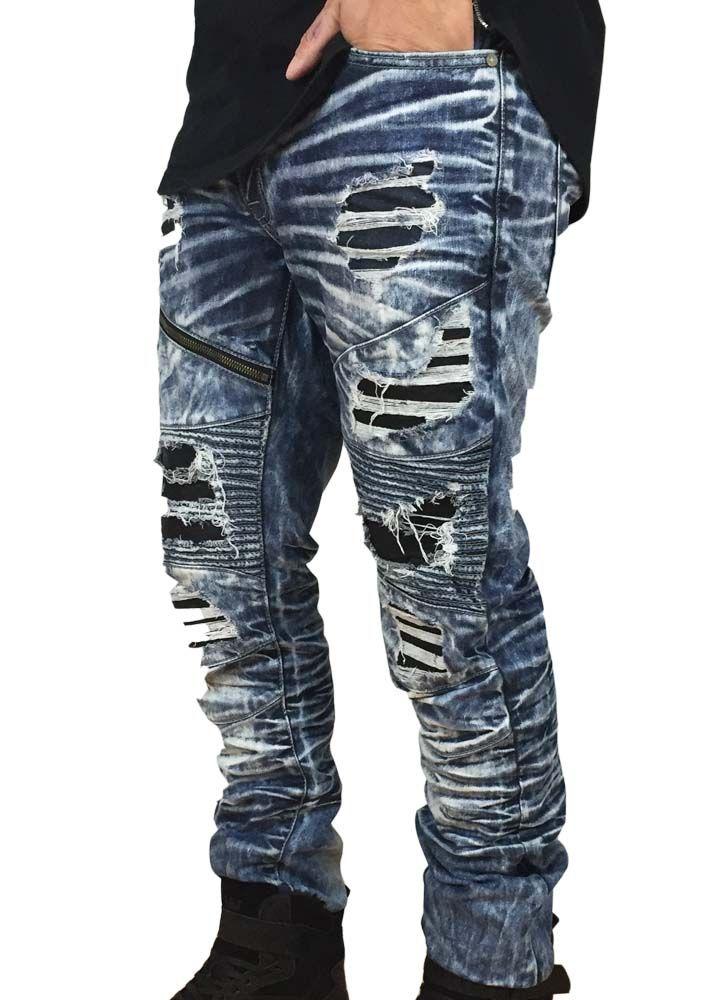 Denim Leather Moto-Destroyed Blue