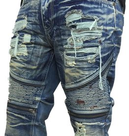 Smoke Rise Denim Moto Short w/zipper