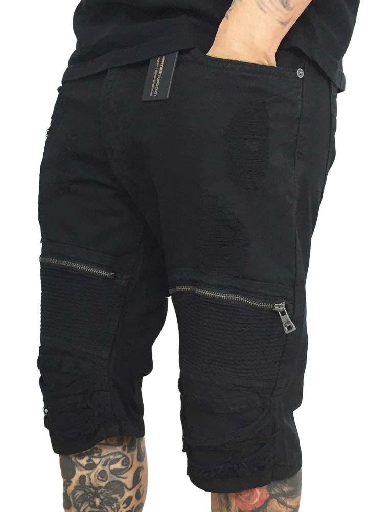 Smoke Rise Denim Moto Short w/zipper
