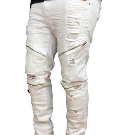 Grooveman Ripped Biker Pants w/zipper