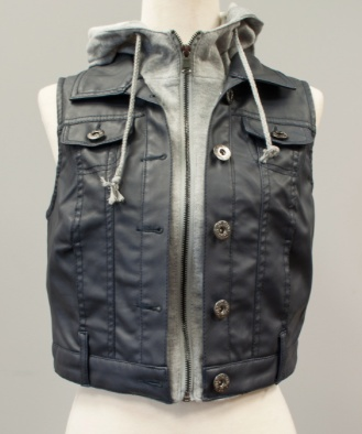 London Denim Vest w/Fleece Hoodie