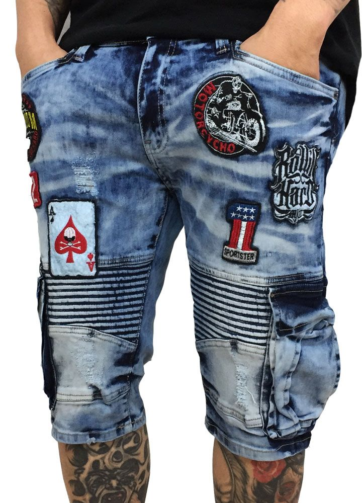 Copper Rivet Denim Cargo Biker with Patches